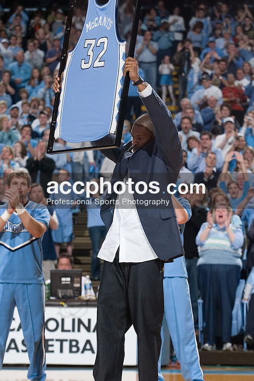 31 December 2006: Rashad McCants as the jerseys for former players Sean May, Raymond Felton and Rashad McCants were honored and hung in the Dean Smith Center during a North Carolina Tar Heels 81-51 win over the Dayton Flyers in Chapel Hill, NC.<br />