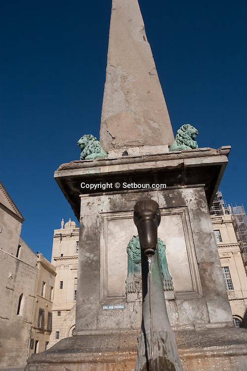 France. Bouches du Rhone.place de la republique, obelisk and fountain  , Arles old town- France