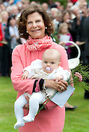 Queen Silvia of Sweden and Princess Estelle of Sweden at birthday celebrations for Victorias 35th birthday at Solliden in Borgholm, Sweden.