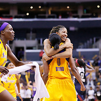 03 August 2014: Los Angeles Sparks forward/center Candace Parker (3) celebrates with Los Angeles Sparks guard/forward Alana Beard (0) during the Los Angeles Sparks 70-69 victory over the Connecticut Sun, at the Staples Center, Los Angeles, California, USA.