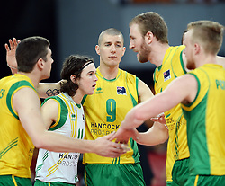 07.09.2014, Jahrhunderthalle, Breslau, POL, FIVB WM, Australien vs Venezuela, Gruppe A, im Bild LUKE PERRY ADAM WHITE AIDAN ZINGEL // LUKE PERRY ADAM WHITE AIDAN ZINGEL // during the FIVB Volleyball Men's World Championships Pool A Match beween Australia and Venezuela at the Jahrhunderthalle in Breslau, Poland on 2014/09/07.<br /> <br /> ***NETHERLANDS ONLY***