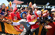 Jan 24, 2018; Kissimmee, FL, USA; Pittsburgh Steelers wide receiver Antonio Brown (84) and Minnesota Vikings cornerback Xavier Rhodes (29) joke around in front of fans after practice for the 2018 Pro Bowl at ESPN Wide World of Sports Complex. (Steve Jacobson/Image of Sport)