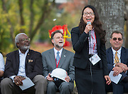 Kellie Zhu comments during a groundbreaking ceremony for the new Mandarin Chinese Language Immersion Magnet School, December 6, 2014.