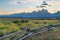 Setting sun over the teton Range at Cunningham Ranch, Grand Teton National Park Wyoming
