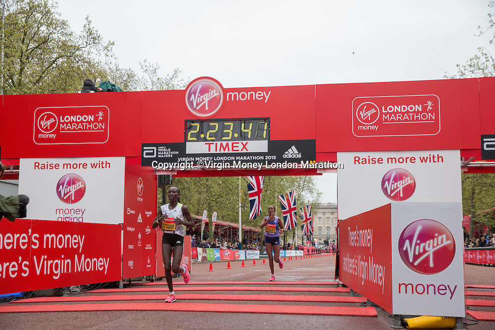Mary Keitany of Kenya crosses the line to finish second in the Elite Women's race at the Virgin Money London Marathon, Sunday 26th April 2015.<br /> <br /> Scott Heavey for Virgin Money London Marathon<br /> <br /> For more information please contact Penny Dain at pennyd@london-marathon.co.uk