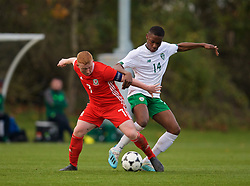 WREXHAM, WALES - Wednesday, October 30, 2019: Wales' Aaron Bennett (L) and Republic of Ireland's Edwin Agbaje during the 2019 Victory Shield match between Wales and Republic of Ireland at Colliers Park. (Pic by David Rawcliffe/Propaganda)