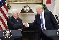 May 3, 2017 - Washington, District of Columbia, U.S. - President DONALD J. TRUMP shakes hands with President MAHMOUD ABBAS of the Palestinian Authority after a joint statement in the Roosevelt Room of the White House. (Credit Image: © Olivier Douliery/CNP via ZUMA Wire)
