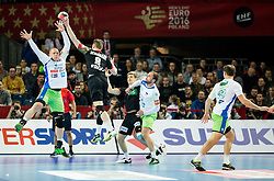 Matej Gaber of Slovenia vs Tobias Reichmann of Germany during handball match between National teams of Germany and Slovenia on Day 6 in Preliminary Round of Men's EHF EURO 2016, on January 20, 2016 in Centennial Hall, Wroclaw, Poland. Photo by Vid Ponikvar / Sportida