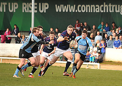 Westport's Kevin Corcoran makes a break against Galwegians during the junior cup final.<br /> Pic Conor McKeown