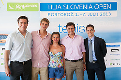 Gregor Krusic, Blaz Rola, Katja Kranjc, Denis Topcic and Borut Fakin  during press conference of ATP Challenger Tilia Slovenia Open 2013, on June 20, 2013 in Hotel Metropol, Portoroz, Slovenia. (Photo By Vid Ponikvar / Sportida)