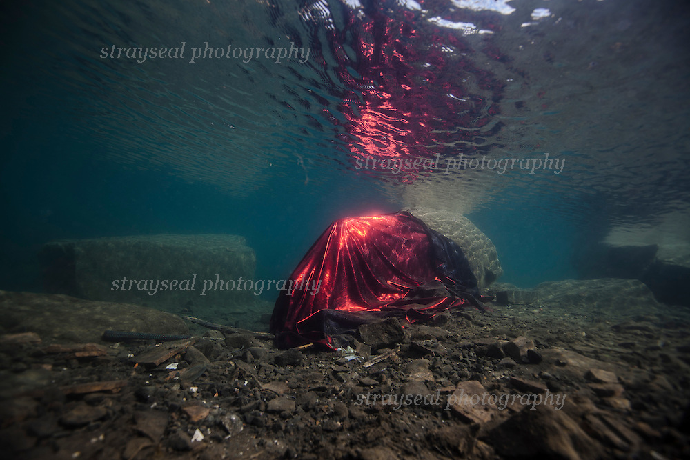 Red Underwater Fabric, Christo and Jean-Claude