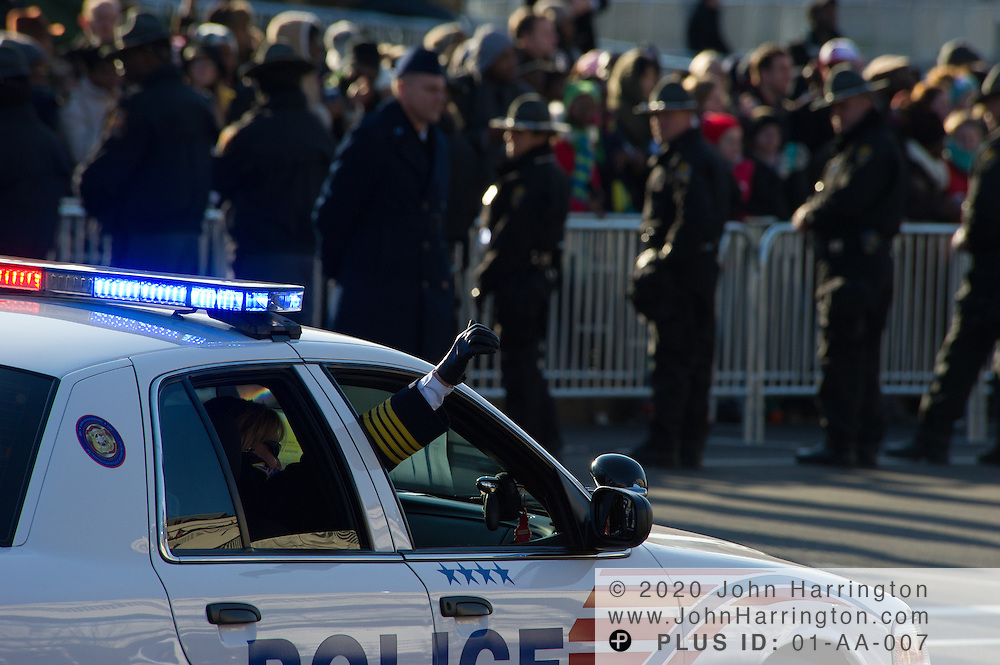 Cruiser 1 with Metropolitan Police Chief Kathy Lanier greeting crowds during the parade for the 57th Presidential Inauguration of President Barack Obama at the U.S. Capitol Building in Washington, DC January 21, 2013.