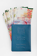 Cutout of an Israeli Identification card and New Israeli Shekel bank notes on white background