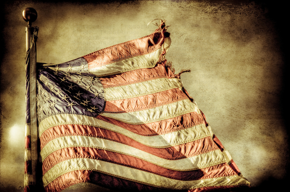 The American flag in tatters