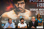 New York, NY, Manny Pacquiao(center) and Brandon Rios(not shown) attend a press conference at Jing fong restaurant in New York on August 6, 2013 as they prepare for their fight in Macao China on November 24, 2013.