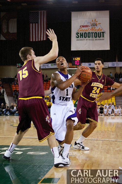 November 26th, 2010:  Anchorage, Alaska - Weber State Wildcat guard Damian Lillard (1) drives in the 58-59 loss to the Arizona State Sun Devils at the Great Alaska Shootout.