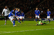 Picture by David Horn/Focus Images Ltd +44 7545 970036<br /> 14/11/2013<br /> Saido Berahino of England Under 21 (left) scores his team's second goal to make it 2-0 during the European U21 Championship match at stadium:mk, Milton Keynes.