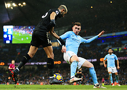 Riyad Mahrez of Leicester City takes on Aymeric Laporte of Manchester City - Mandatory by-line: Matt McNulty/JMP - 10/02/2018 - FOOTBALL - Etihad Stadium - Manchester, England - Manchester City v Leicester City - Premier League