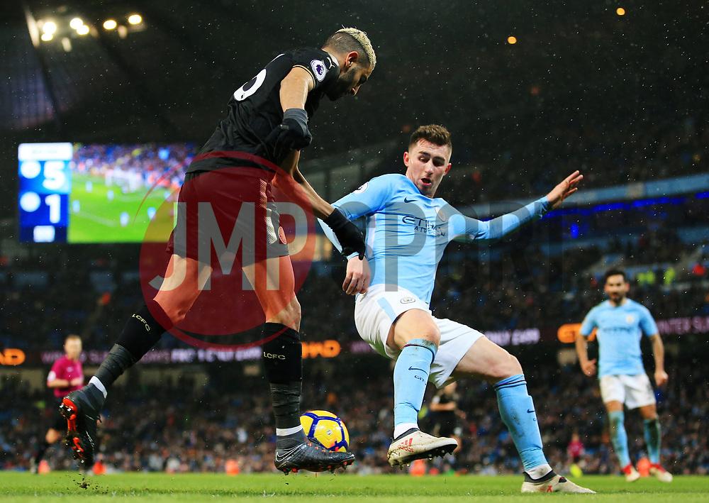 Riyad Mahrez of Leicester City takes on Aymeric Laporte of Manchester City - Mandatory by-line: Matt McNulty/JMP - 10/02/2018 - FOOTBALL - Etihad Stadium - Manchester, England - Manchester City v Leicester City - Premier League