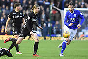 Leeds United midfielder Pawel Cibicki (22) closes down Birmingham City defender Jonathan Grounds (3) 0-0 during the EFL Sky Bet Championship match between Birmingham City and Leeds United at St Andrews, Birmingham, England on 30 December 2017. Photo by Alan Franklin.