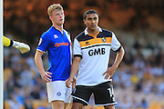 Andy Cannon, Jerome Thomas during the EFL Sky Bet League 1 match between Port Vale and Rochdale at Vale Park, Burslem, England on 16 August 2016. Photo by Daniel Youngs.