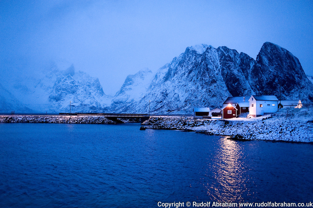 Rorbuer (traditional fisherman's cottages) at Olenilsoy in winter, Lofoten Islands, Arctic Norway