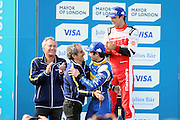 Renault E.Dams driver, Nico Prost and his father Alain Prost after winning during Round 9 of Formula E, Battersea Park, London, United Kingdom on 2 July 2016. Photo by Matthew Redman.