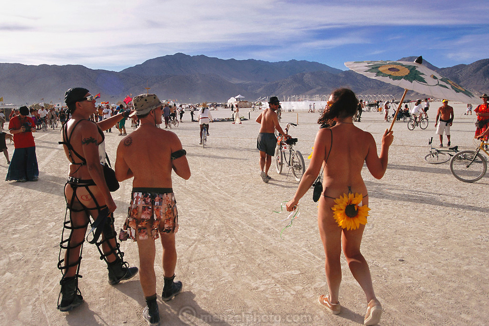 Black Rock Desert, Nevada: Burning Man is a performance art festival known for art, drugs and sex. It takes place annually in the Black Rock Desert near Gerlach, Nevada, USA.