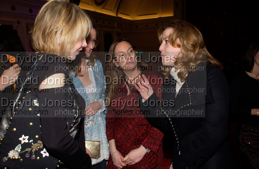 "Trudie Styler, Lucy Yeomans, Emily Oppenheimer and Gillian Anderson, Harpers and Queen and Twentieth Century Fox host a  charity screening in aid of 'Facing the World"" ( plastic surgery for children in the world's poorest countries)  and supper for Solaris. Electric Cinema, Notting Hill.  © Copyright Photograph by Dafydd Jones 66 Stockwell Park Rd. London SW9 0DA Tel 020 7733 0108 www.dafjones.com"