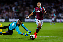 Axel Maraval of NK Domzale and Sofiane Feghouli of West Ham during 2nd Leg football match between West Ham United FC and NK Domzale in 3rd Qualifying Round of UEFA Europa league 2016/17 Qualifications, on August 4, 2016 in London, England.  Photo by Ziga Zupan / Sportida