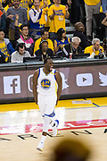 Golden State Warriors forward Draymond Green (23) celebrates a three pointer during Game 2 of the Western Conference Semifinals against the Utah Jazz at Oracle Arena in Oakland, Calif., on May 4, 2017. (Stan Olszewski/Special to S.F. Examiner)