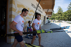 Iztok Cop and Davor Mizerit during rowing at Slovenian National Championship and farewell of Iztok Cop, on September 22, 2012 at Lake Bled, Ljubljana Slovenia. (Photo By Matic Klansek Velej / Sportida)