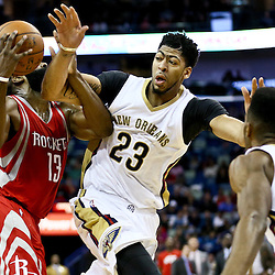 Jan 25, 2016; New Orleans, LA, USA; New Orleans Pelicans forward Anthony Davis (23) defends against Houston Rockets guard James Harden (13) during the second quarter of a game at the Smoothie King Center. Mandatory Credit: Derick E. Hingle-USA TODAY Sports