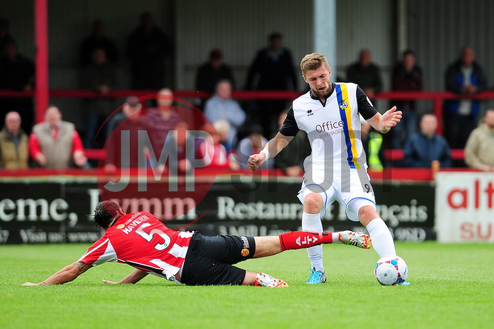 Altrincham's Gianluca Havern challenges Bristol Rovers Ryan Brunt - Photo mandatory by-line: Neil Brookman - Mobile: 07966 386802 16/08/2014 - SPORT - FOOTBALL - Altrincham - J. Davidson Stadium - Altrincham v Bristol Rovers - Vanarama Conference Football