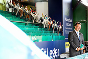 Racing Presenter and Commentator Richard Hoiles calls the horses home on the William Hill St Leger Game during the fourth and final day of the St Leger Festival at Doncaster Racecourse, Doncaster, United Kingdom on 14 September 2019.