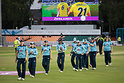 England leave the field having lost the Royal London Women's One Day International match between England Women Cricket and Australia at the Fischer County Ground, Grace Road, Leicester, United Kingdom on 4 July 2019.