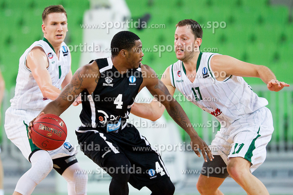 Jamarr Saners of Dolimiti Energia Trento during basketball match between KK Union Olimpija Ljubljana and Dolomiti Energia Trento (ITA) in Round #1 of EuroCup 2015/16, on October 14, 2015 in Arena Stozice, Ljubljana, Slovenia. Photo by Urban Urbanc / Sportida