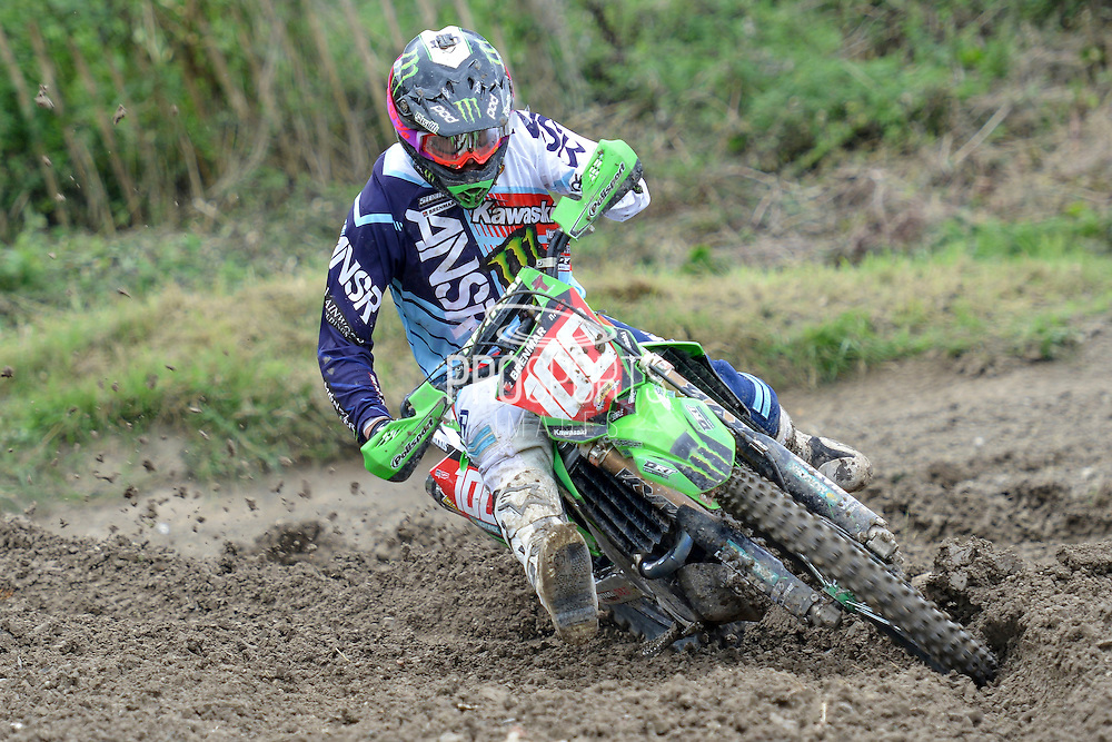 Tommy Searle (100) of Monster Energy DRT Kawasaki during round 8 of the Maxxis Acu British Motocross Championship at Foxhill Moto Park, Swindon, United Kingdom on 18 September 2016. Photo by Mark Davies.