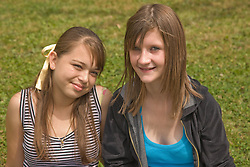 Portrait of teenage girls smiling in the park,