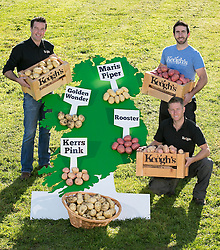 Repro Free: 02/10/2014 To celebrate National Potato Day which returns for a fourth year on Friday 3rd October, Tom Keogh, potato expert and General Manager of Keogh&rsquo;s Farm took to the farm today with Ross and Derek Keogh to showcase an insight into Ireland&rsquo;s turbulent love affair with the humble spud. Each year millions of Euro are spent by consumers on potatoes, valuing the potato market at &euro;195 million to the Irish economy.<br /> <br /> Research conducted by Keogh&rsquo;s Farm, Ireland&rsquo;s much loved family farmers, revealed that the ever popular and versatile Rooster potato is still Ireland&rsquo;s favourite with the highest consumption recorded in Leinster (54.25%), followed by Munster (28.14%) and Connacht (17.61%). Picture Andres Poveda<br /> <br /> NB: Press release with full research results has been sent to the newsdesk<br /> For media enquiries please contact:<br /> Frankie B. Francis <br /> Insight Consultants<br /> Frankie@insightconsultants.ie <br /> 01 293 9977 / 087 7725661