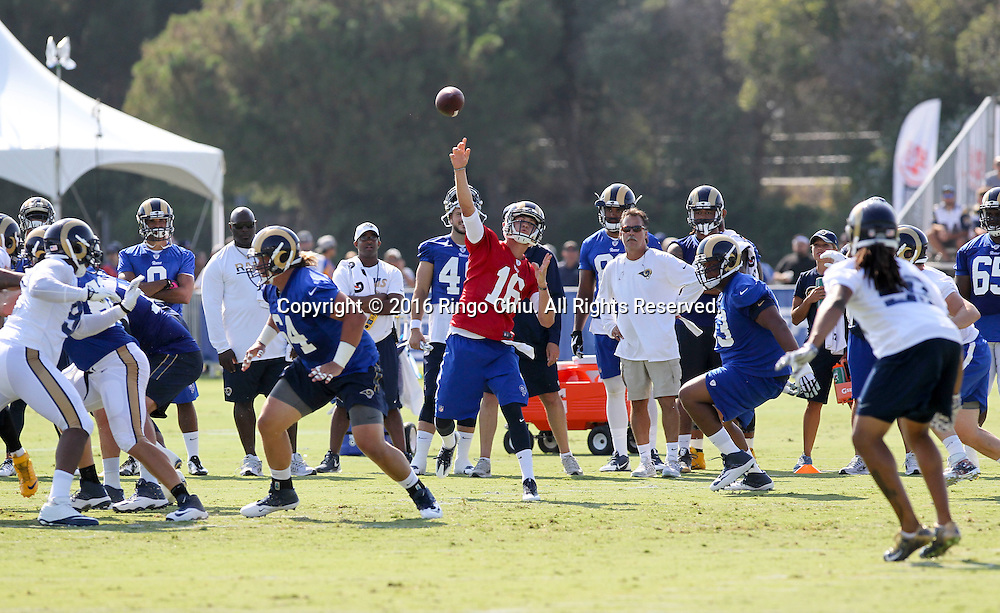 QB Jared Goff #16 and Rams coach Jeff Fisher in Los Angeles Rams training session at UC Irvine campus.<br /> (Photo by Ringo Chiu/PHOTOFORMULA.com)<br /> <br /> Usage Notes: This content is intended for editorial use only. For other uses, additional clearances may be required.
