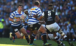 Cape Town-181027 Western Province Ruhan Nel  challenged by Hyron Andrews  of  the  Cell C Sharks in the Currie Cup Final at the Newlands Stadium .Photographer:Phando Jikelo/African News Agency(ANA)