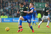Callum Camps wins the ball during the EFL Sky Bet League 1 match between Plymouth Argyle and Rochdale at Home Park, Plymouth, England on 23 February 2019.