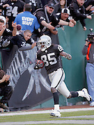 OAKLAND, CA - DECEMBER 19:  Wide receiver Doug Gabriel #85 of the Oakland Raiders catches a 45 yard touchdown pass for a 28-21 Raiders lead in the third quarter of the game against the Tennessee Titans at Network Associates Coliseum on December 19, 2004 in Oakland, California. The Raiders defeated the Titans 40-35. ©Paul Anthony Spinelli *** Local Caption *** Doug Gabriel