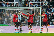 Shane Long (#7) of Southampton leads the protests as Southampton claim for a hand ball in the Newcastle penalty box during the Premier League match between Newcastle United and Southampton at St. James's Park, Newcastle, England on 8 December 2019.
