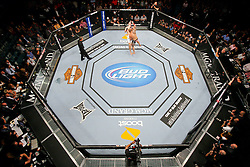 May 28, 2011; Las Vegas, NV; USA; Travis Browne (black trunks) knocks out Stefan Struve (white trunks) in the first round of their bout at UFC 130 at the MGM Grand Garden Arena.