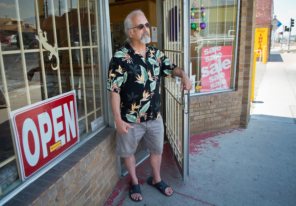mkb062217b/metro/Marla Brose --  Robert Steinberg is the owner of Stone Mountain Bead Gallery. He is disappointed that the Nob Hill Summerfest will not include his shop at 4008 Central Ave. SE.  (Marla Brose/Albuquerque Journal)