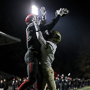 November 06, 2015; Oregon City, OR, USA; SAM MAUGHAN (11) catches the ball in the endzone for a touchdown.  Oregon City hosted Southridge at Pioneer Stadium.  Photo by David Blair