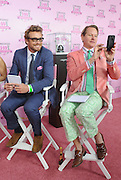 Celebrity judges Simon Baker, left, and Carson Kressley judge the Longines Kentucky Oaks Fashion Contest on Kentucky Oaks Day, Friday, May 2, 2014, in Louisville, Ky.  Longines, the Swiss watch manufacturer known for its luxury timepieces, is the Official Watch and Timekeeper of the 140th annual Kentucky Derby.  (Photo by Diane Bondareff/Invision for Longines/AP Images)