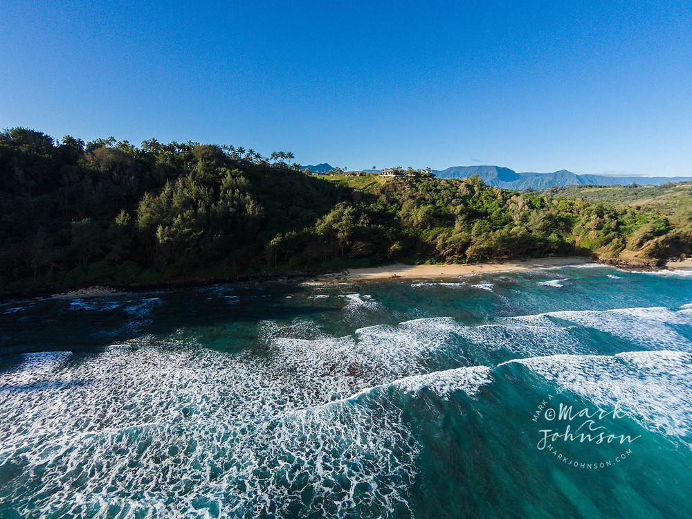 Aerial photograph of Kahili (Rock Quarry) Beach, Kauai, Hawaii